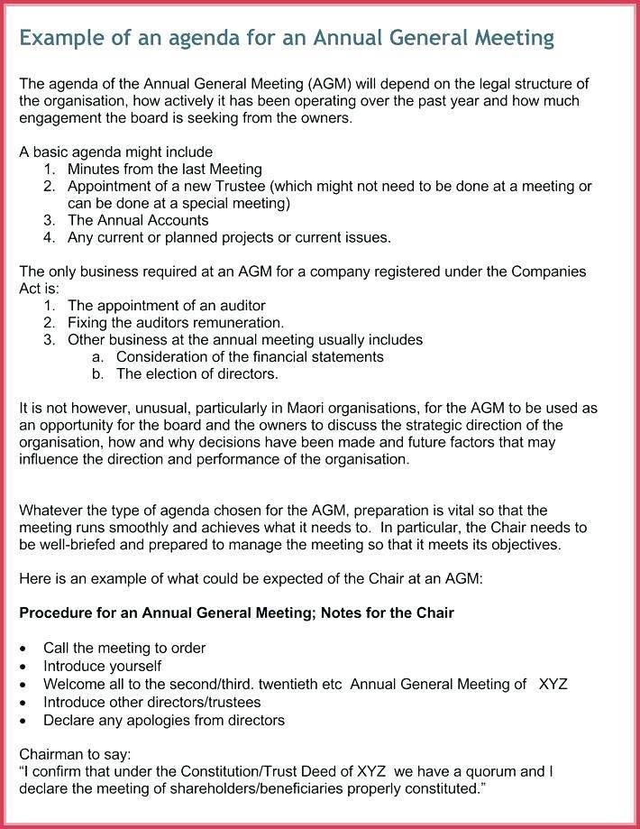 Board Meeting Agenda Template Australia