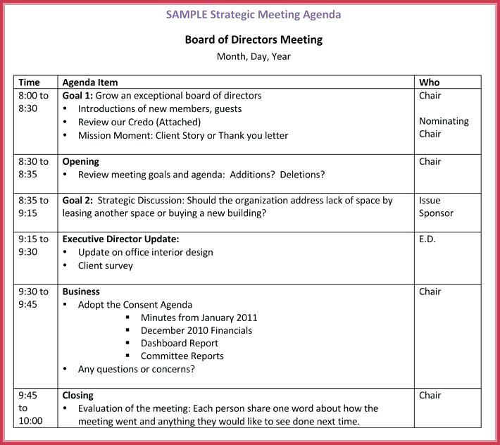 Board Meeting Agenda Template Free