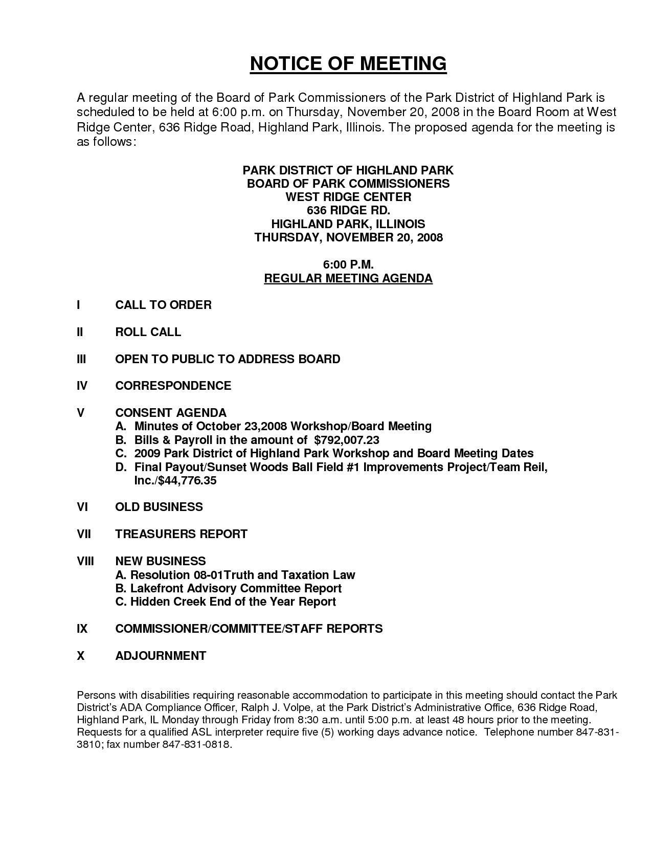 Board Of Directors Meeting Notice Format