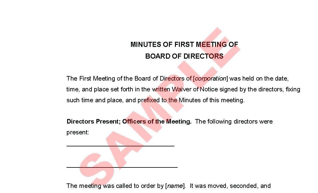 Board Of Directors Meeting Notice Template