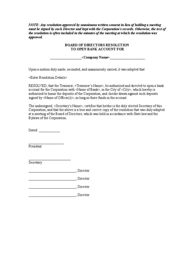 Board Of Directors Resolution Format For Opening Bank Account