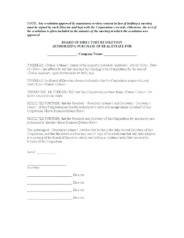 Board Of Directors Resolution Sample Letter