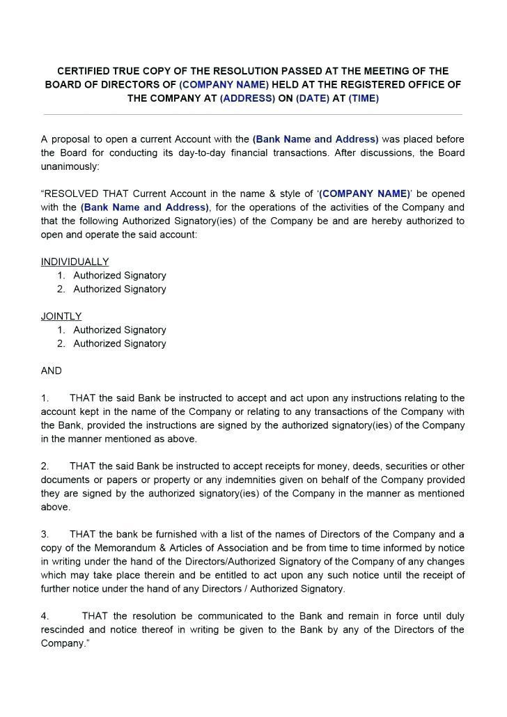 Board Of Directors Resolution Template Uk