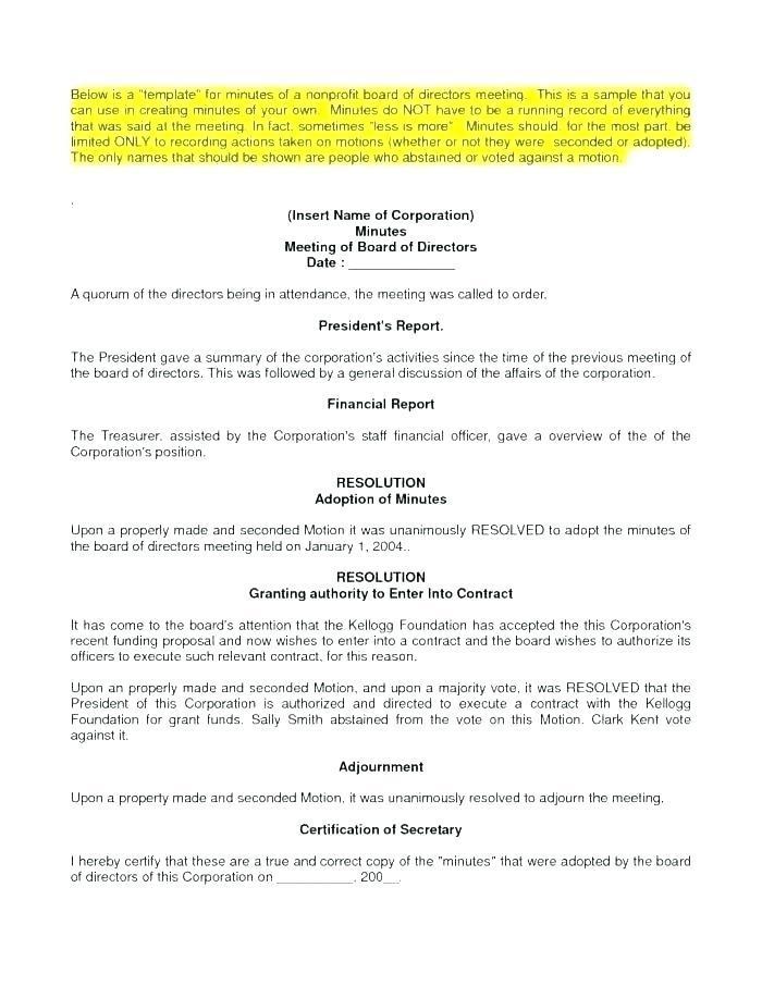 Board Of Directors Resolution Template