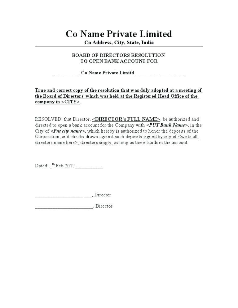 Board Resolution Appointment Of Director Template