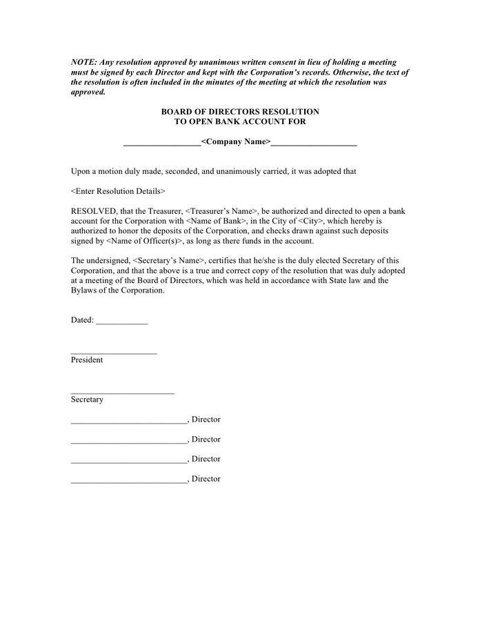 Board Resolution Template Free Uk