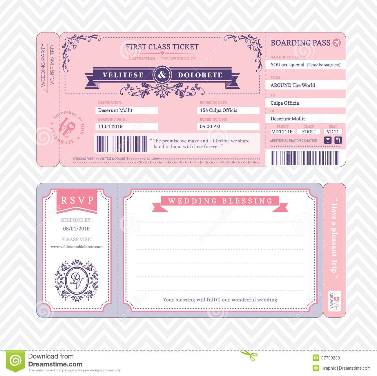 Boarding Pass Wedding Invitation Template Printable