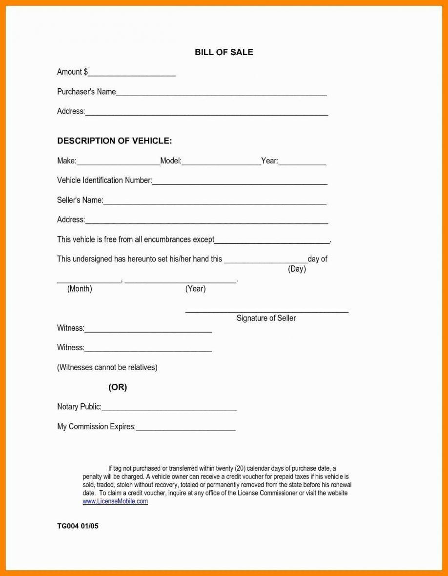 Boat Bill Of Sale Template Maryland