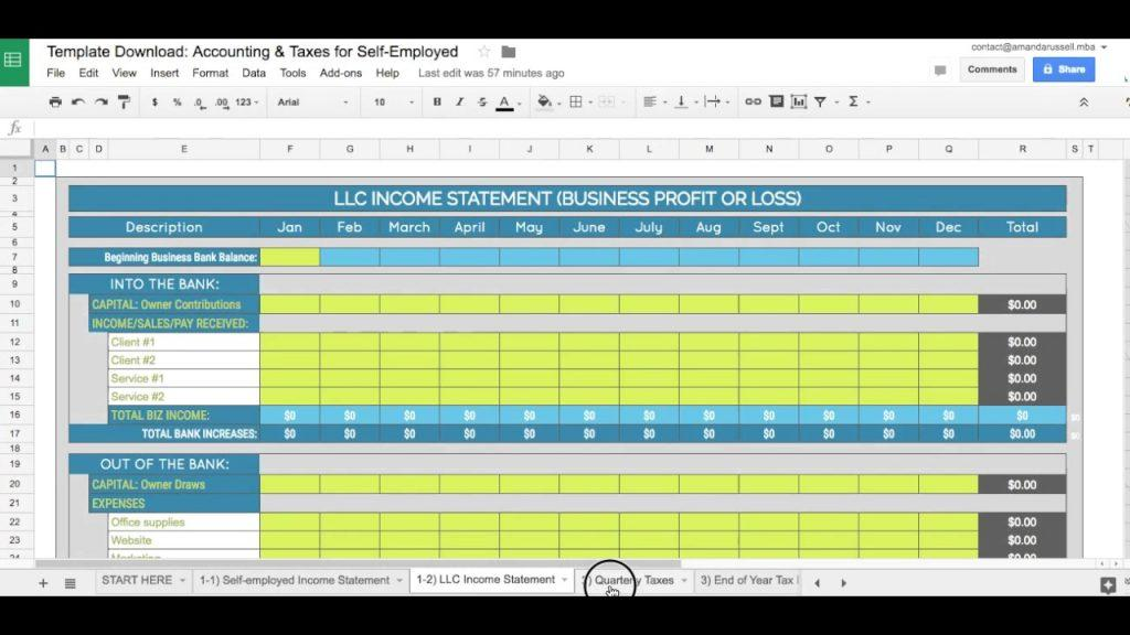 Bookkeeping Excel Template Uk
