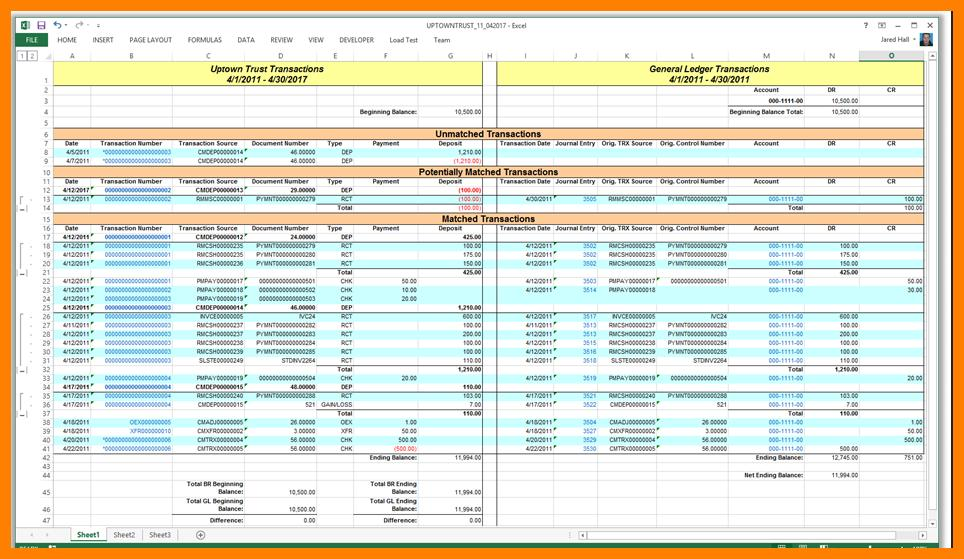 Bookkeeping Ledger Template Excel