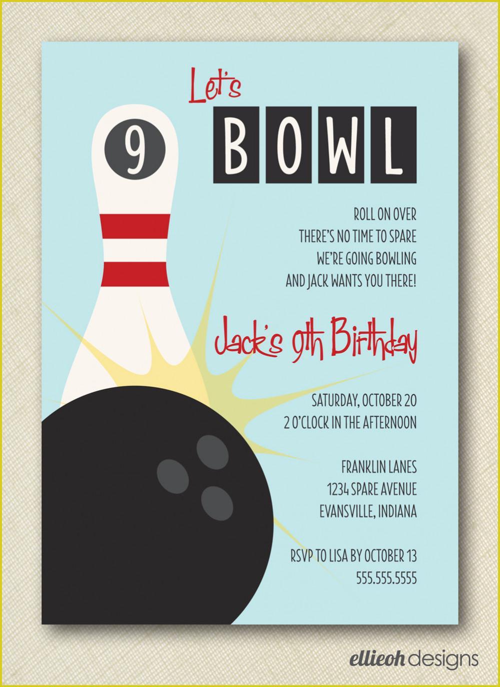 Bowling Birthday Invitation Templates Free