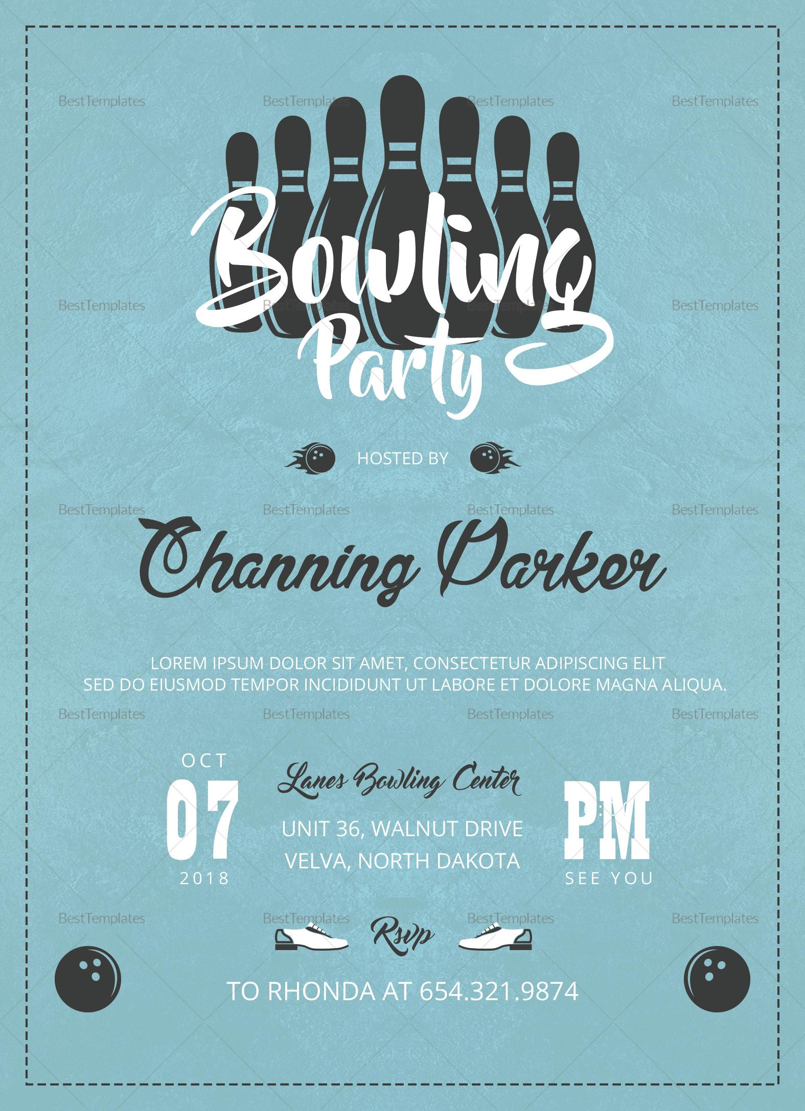 Bowling Invitation Word Template