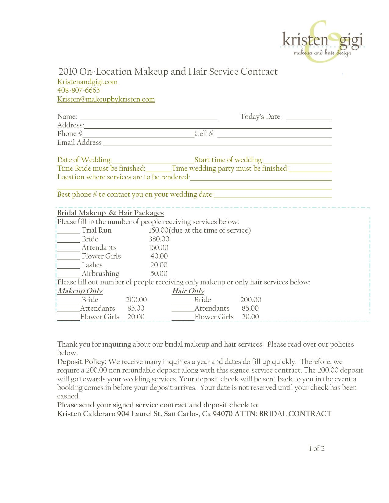Bridal Contract Template For Hair