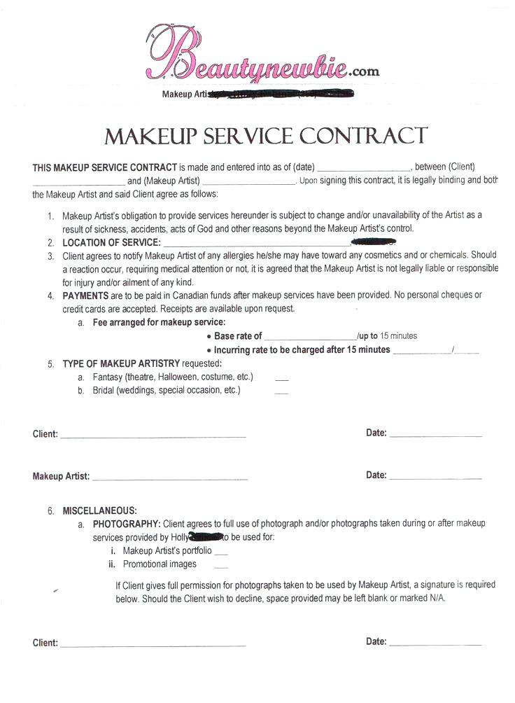 Bridal Contract Template For Makeup