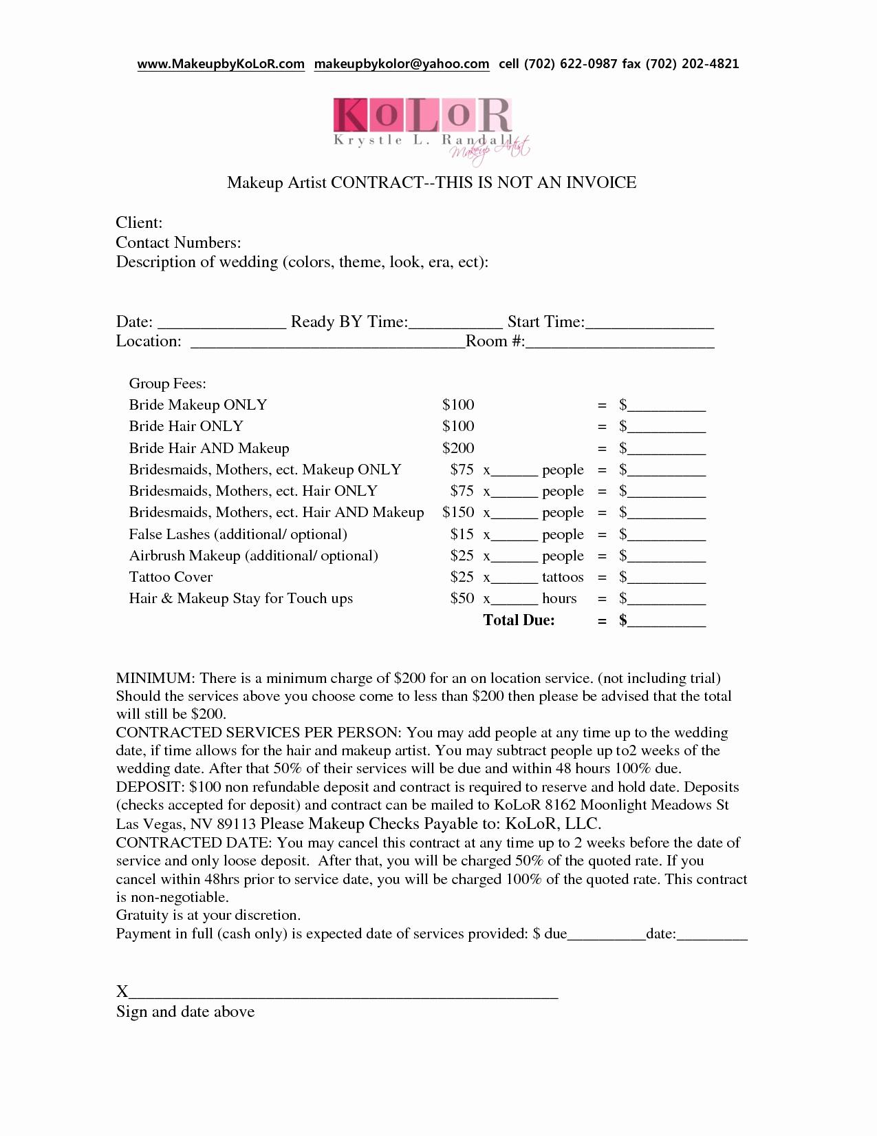 Bridal Contract Template