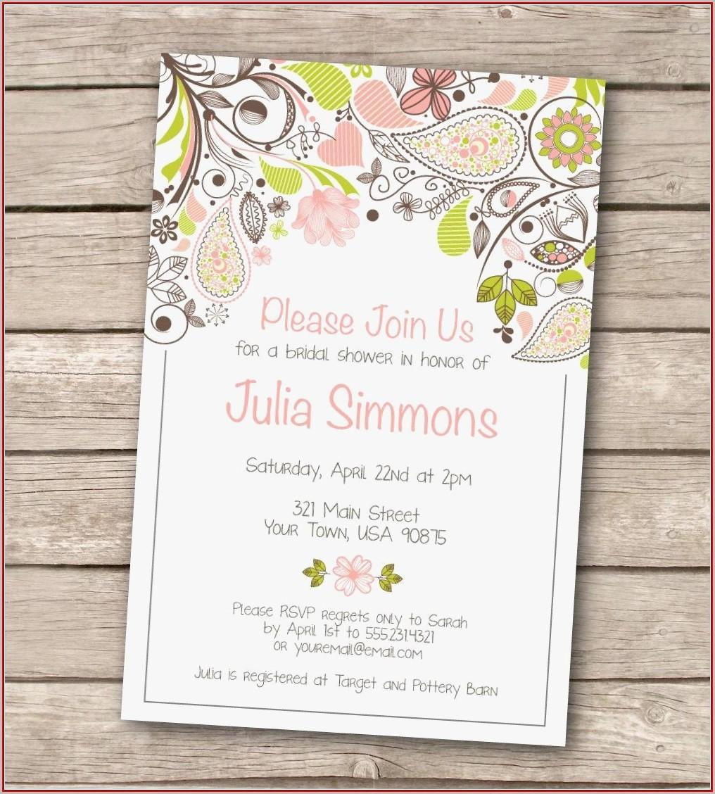 Bridal Invitation Templates Free