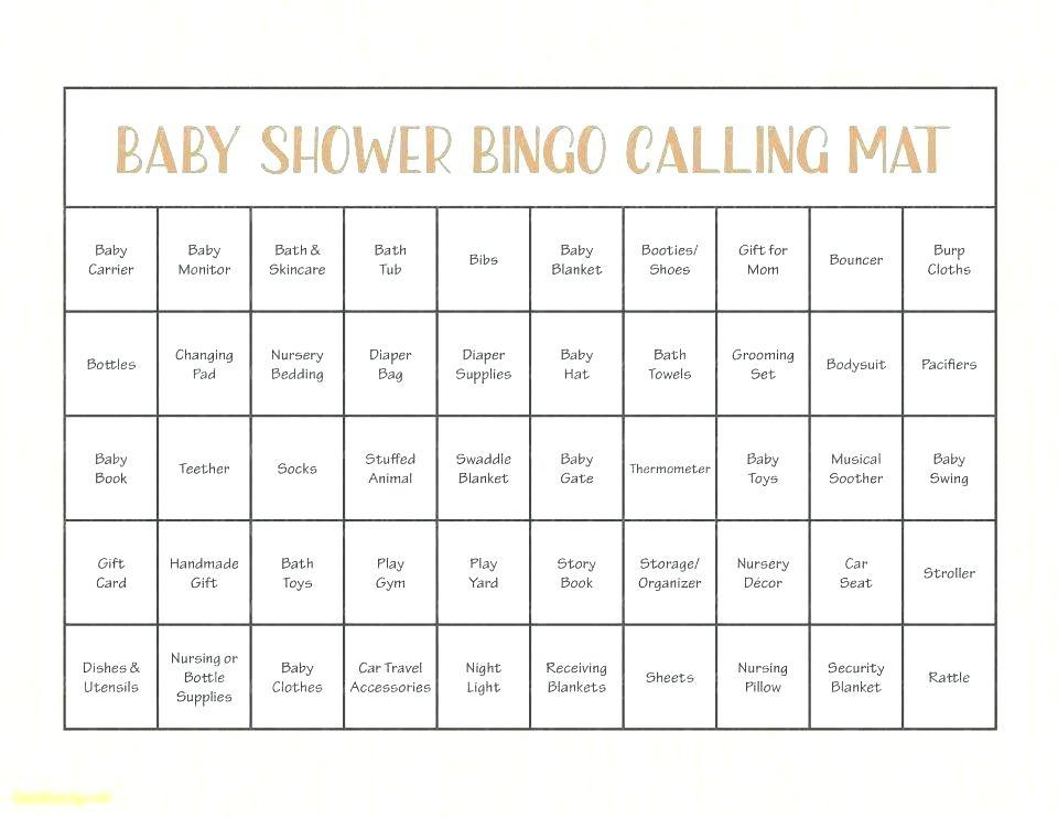 Bridal Shower Bingo Board Template