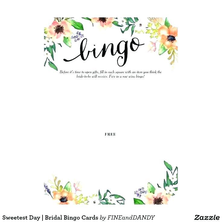 Bridal Shower Bingo Card Template Free