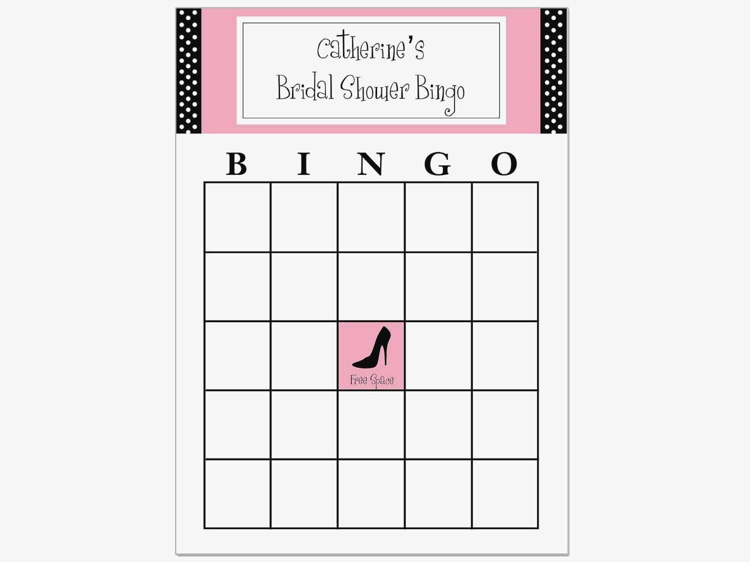 Bridal Shower Bingo Template Blank Free