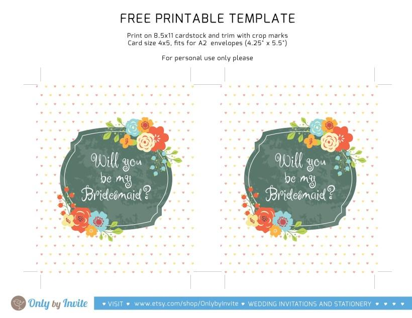 Bridesmaid Invitation Templates Free