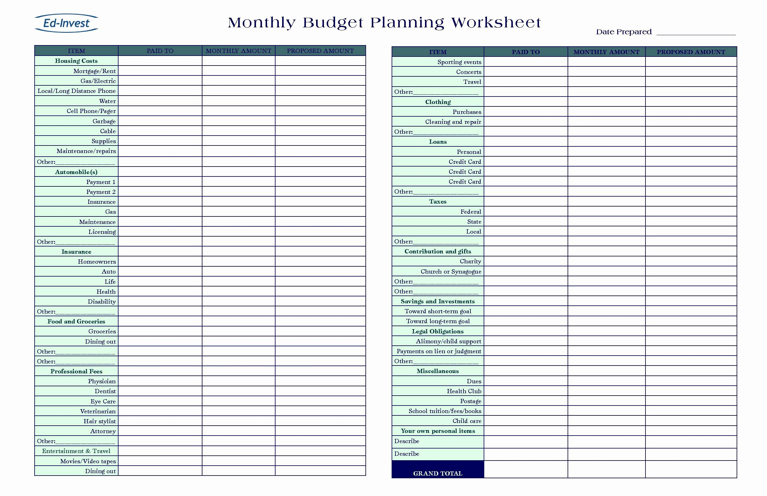 Budget Planner Free Template Excel