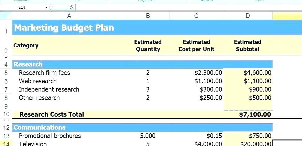 Budget Projections Template