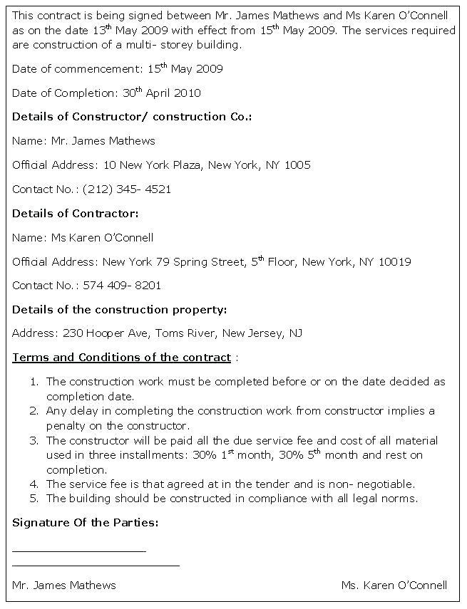 Building Contractor Contracts Templates