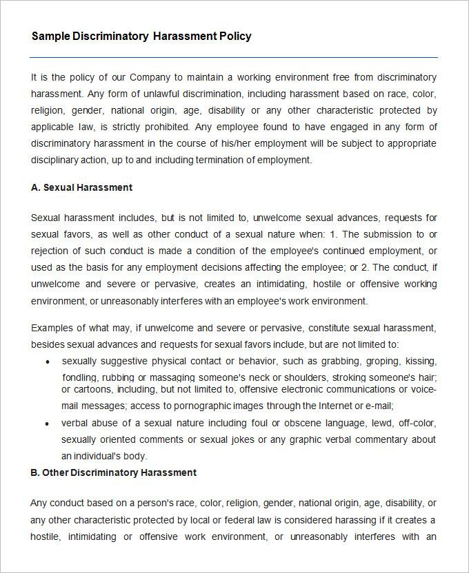 Bullying And Harassment Policy Template Qld