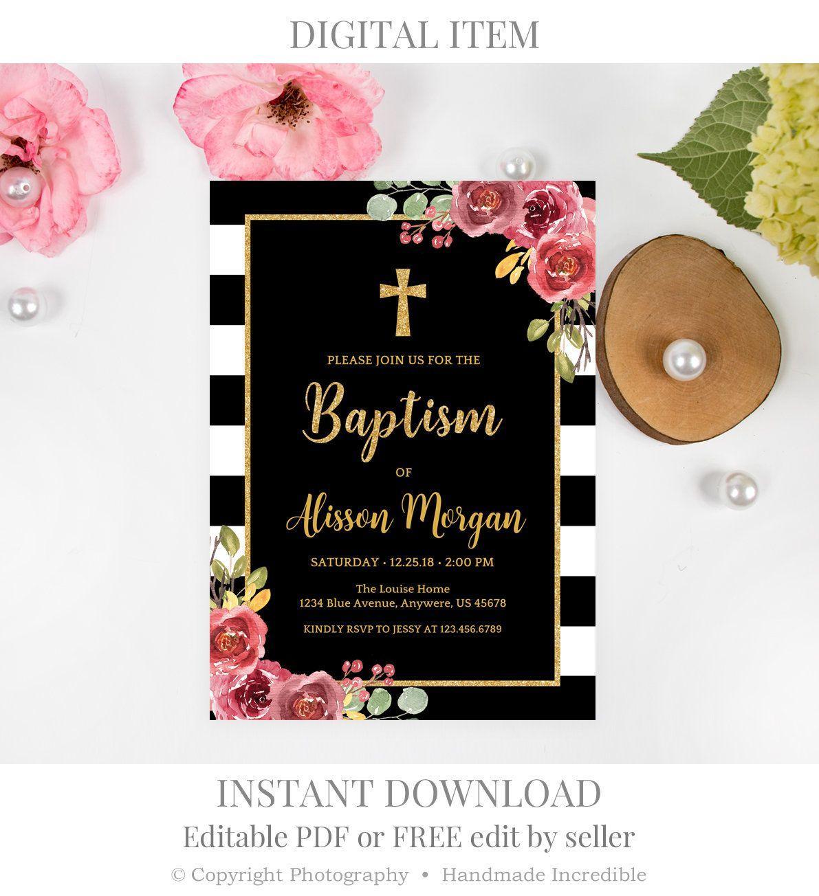 Burgundy Flower Invitation Template