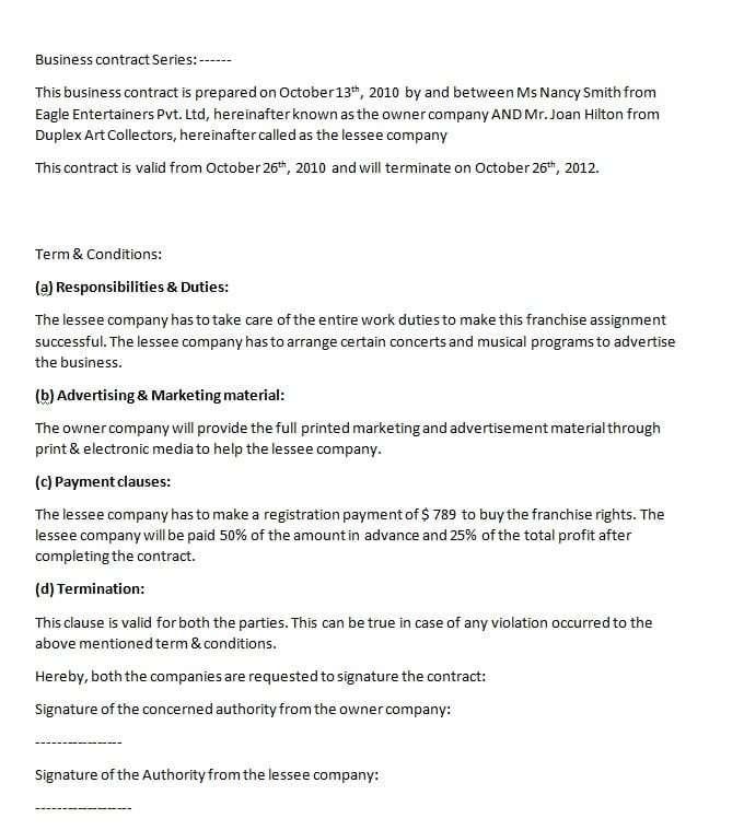 Business Agreements Examples