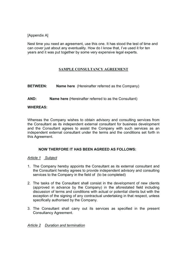 Business Consulting Agreement Template Free