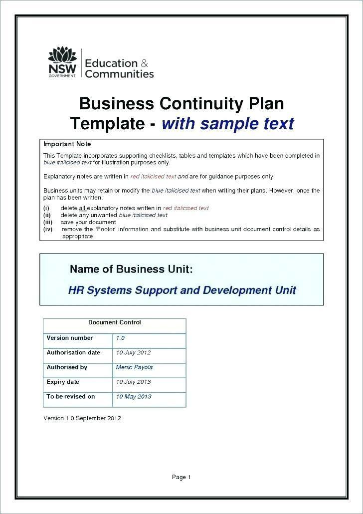 Business Continuity Plan Checklist Template