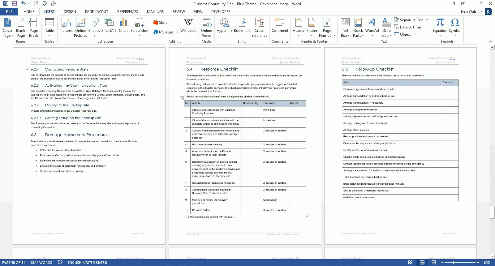 Business Continuity Plan Template Excel