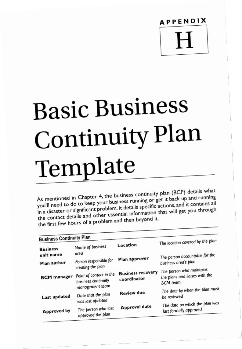 Business Continuity Plan Template Pdf