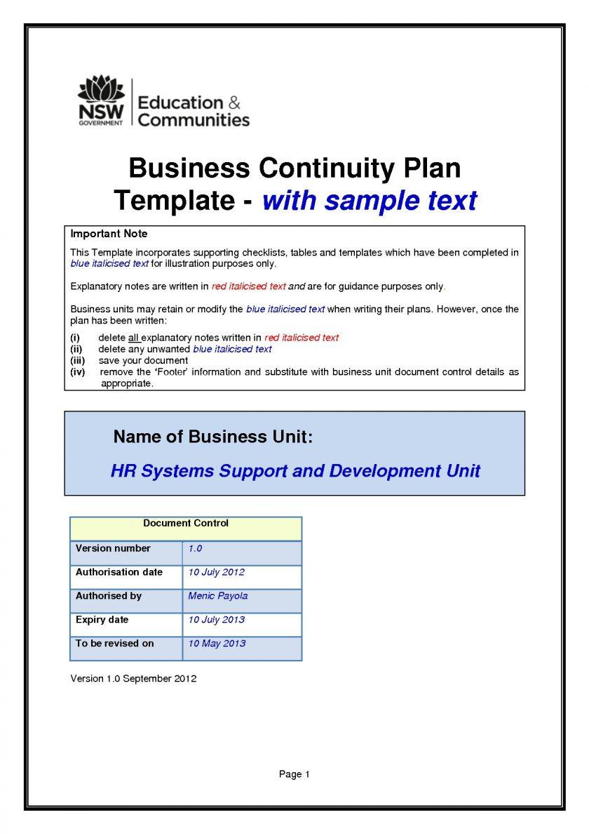 Business Continuity Plan Template Uk
