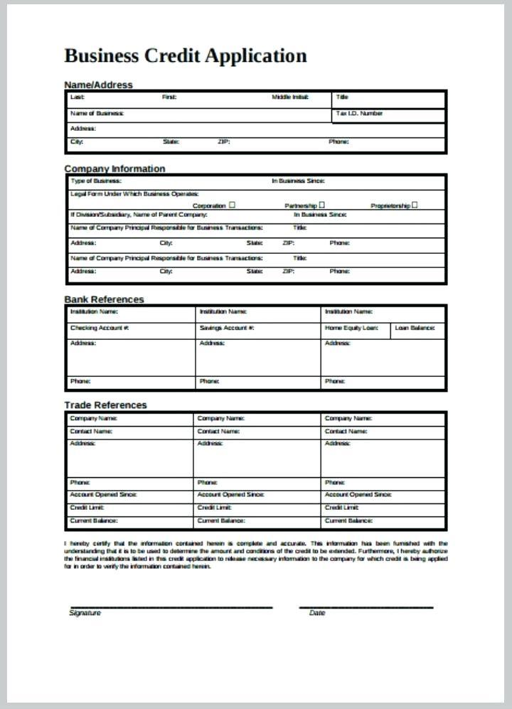 Business Credit Application Form Template Excel
