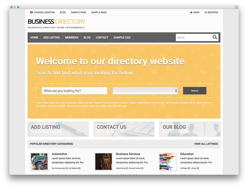 Business Directory Template WordPress