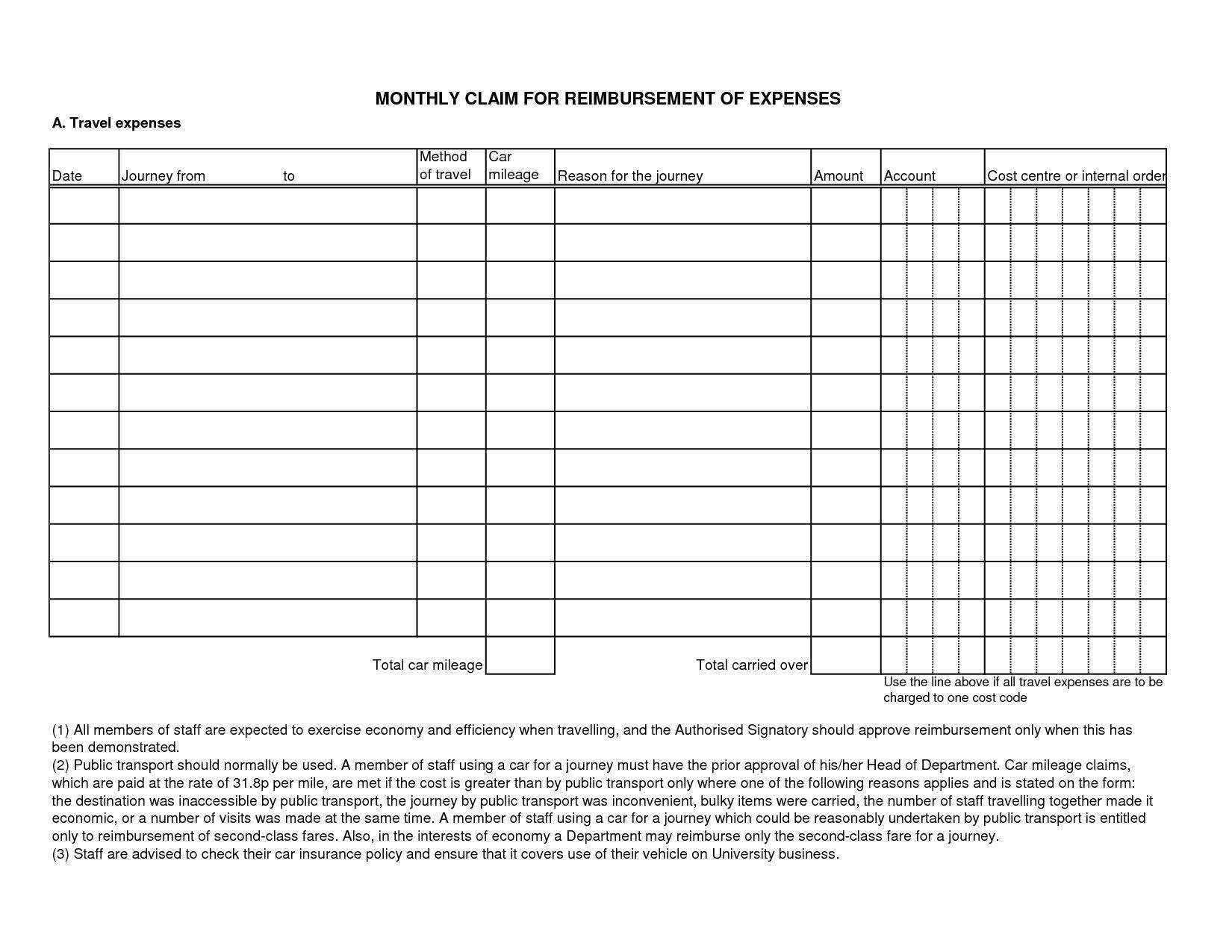 Business Expense Reimbursement Form Template