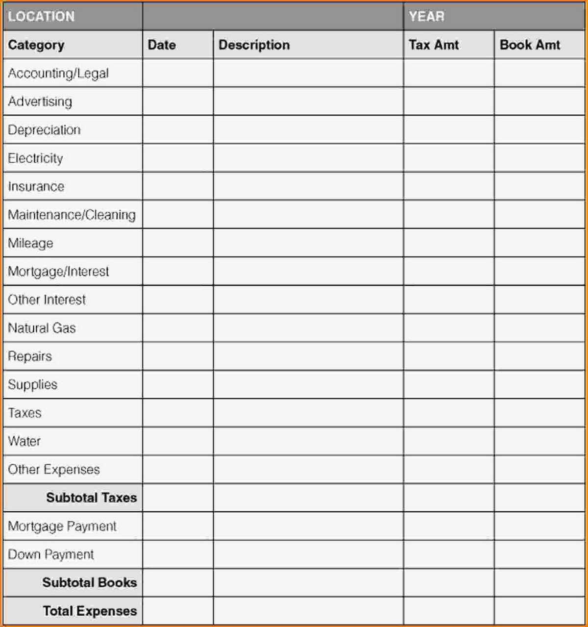 Business Expenses Sheet Template