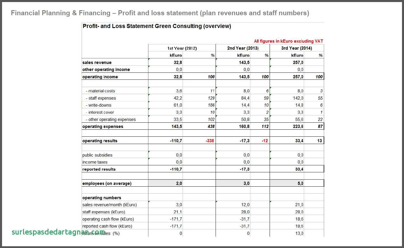 Business Financial Plan Template Excel Pdf