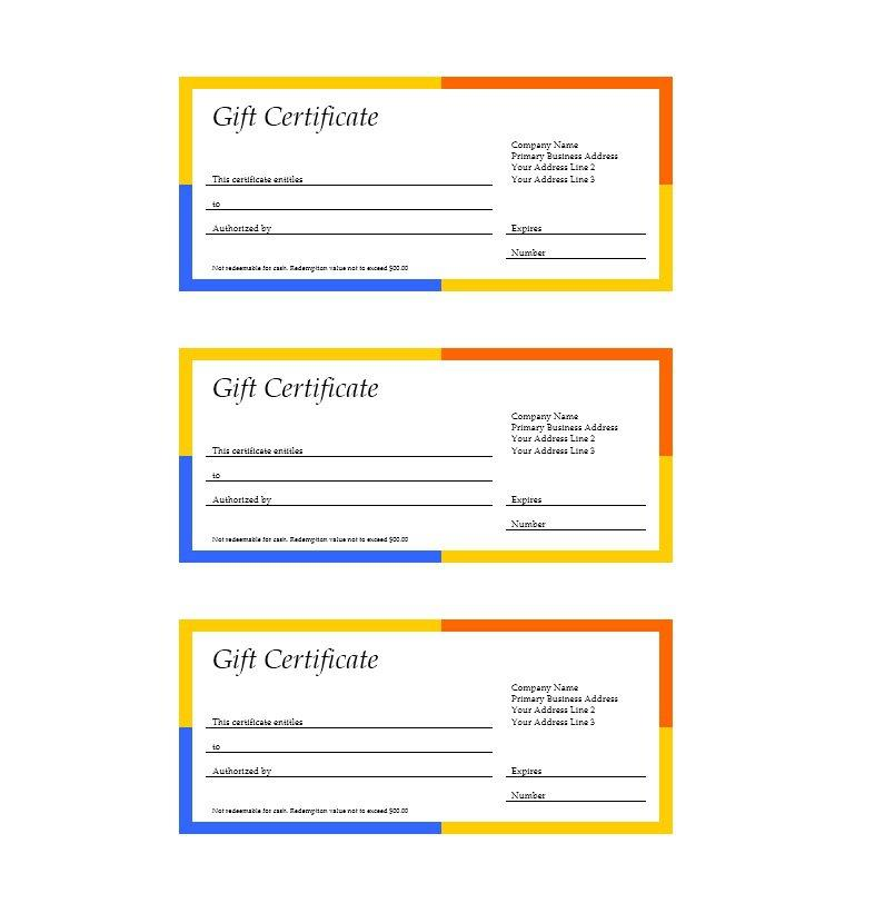 Business Gift Certificate Template Word Free