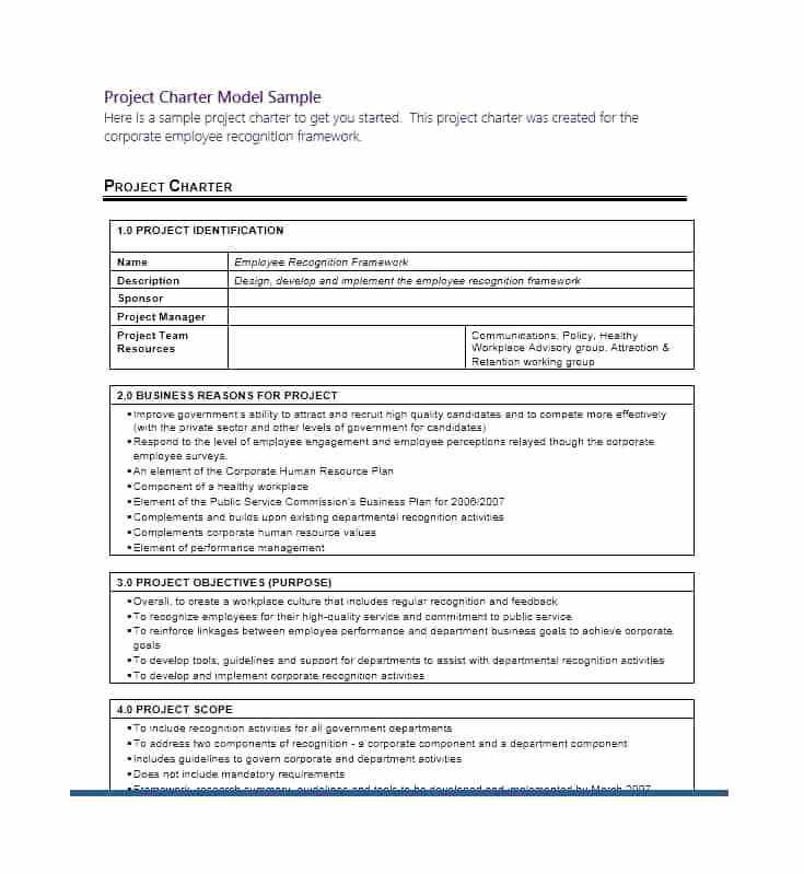 Business Intelligence Project Charter Template