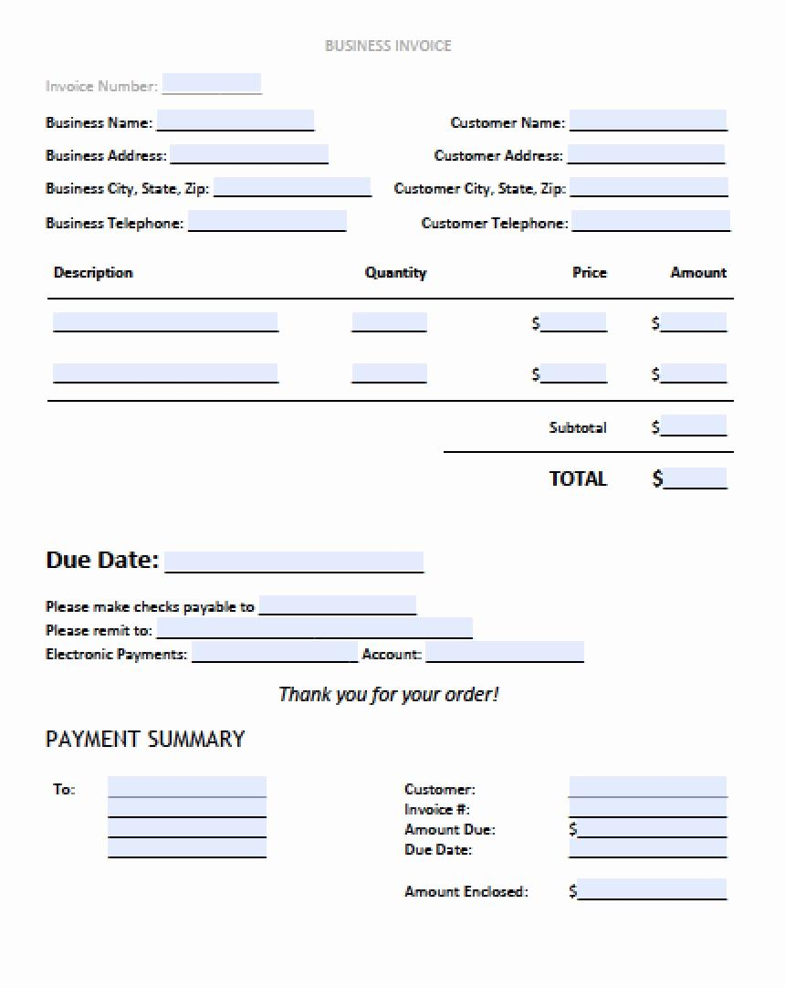 Business Invoice Template Word