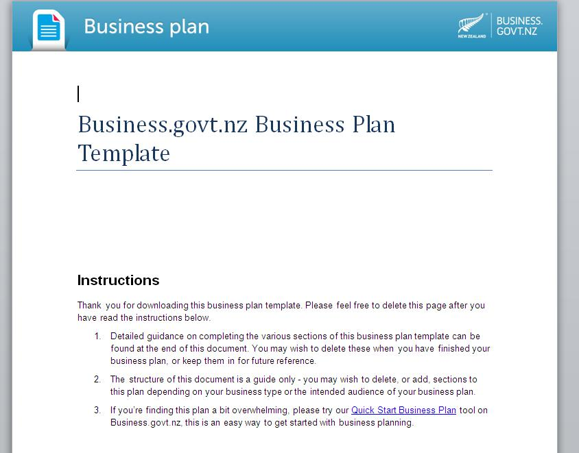Business Plan Template Nz
