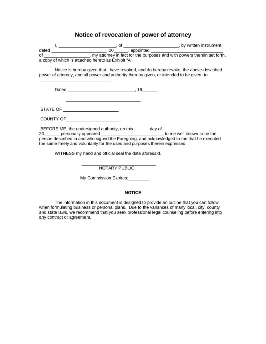 Business Power Of Attorney Template