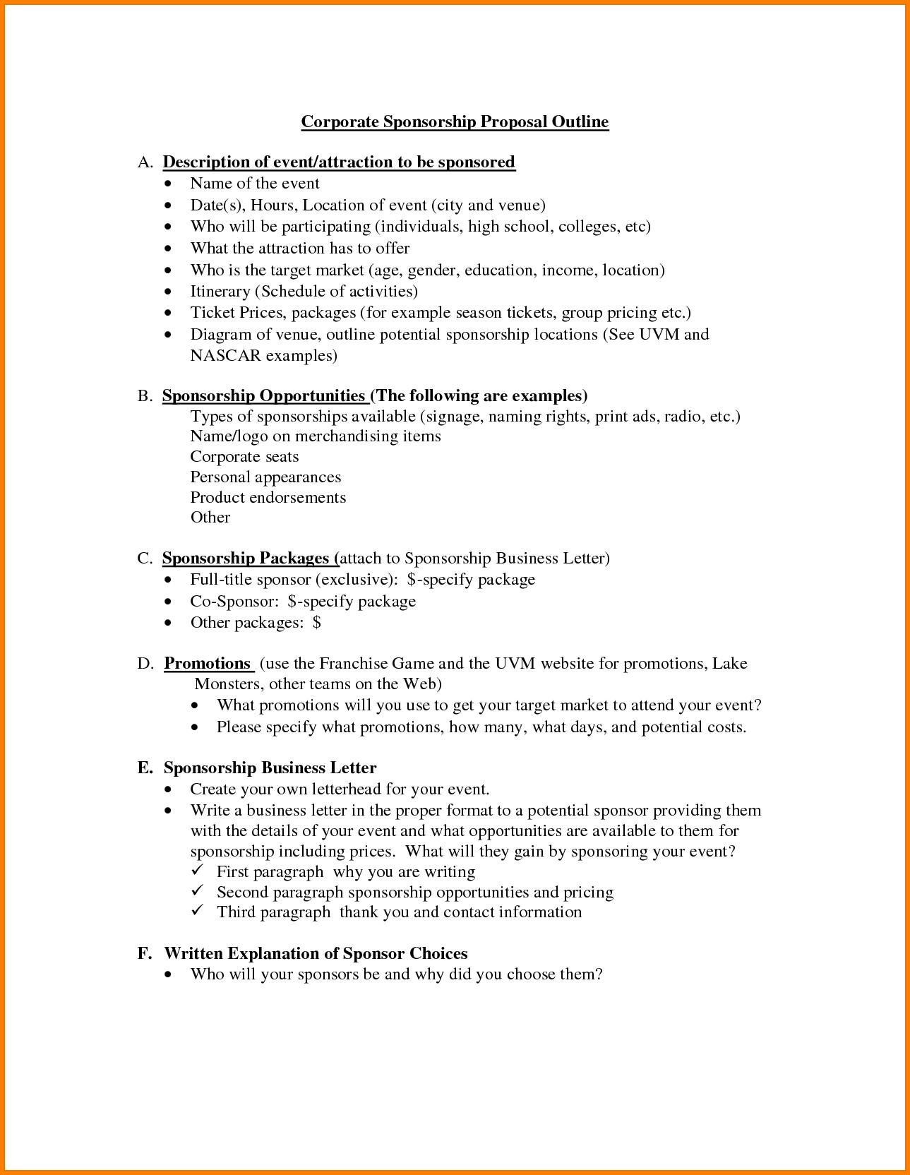 Business Sponsorship Proposal Template Doc