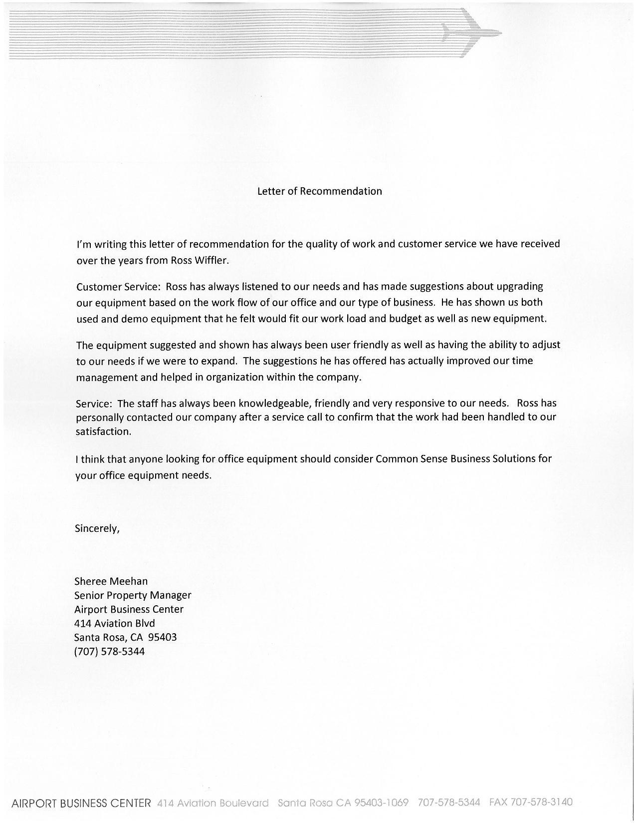 Business Testimonial Letters