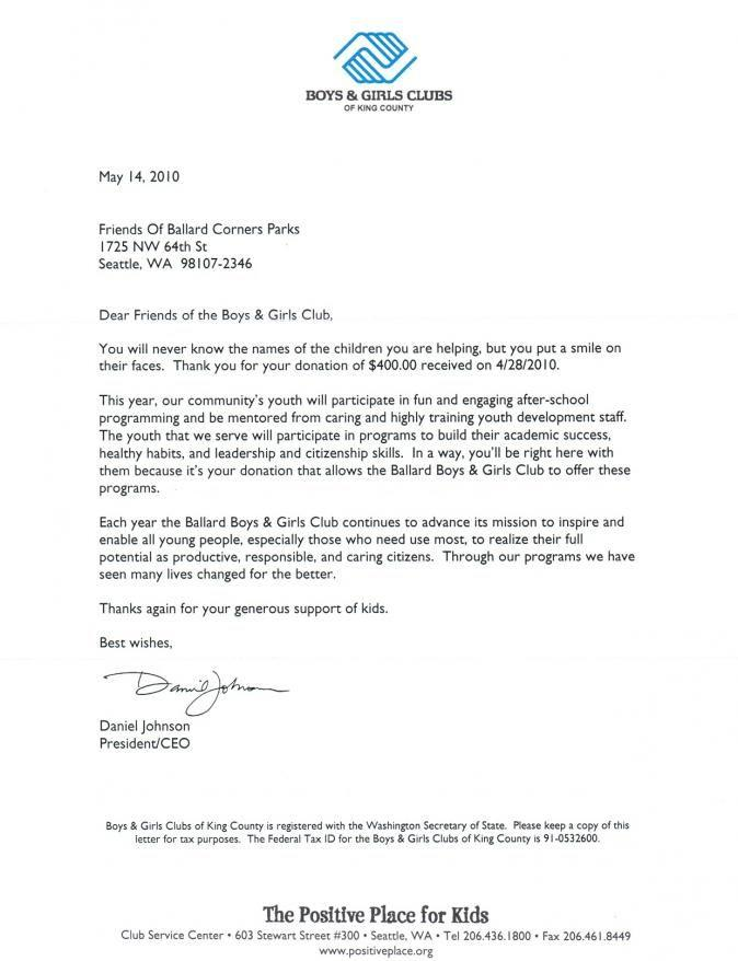 Business Thank You Letter Donation Template