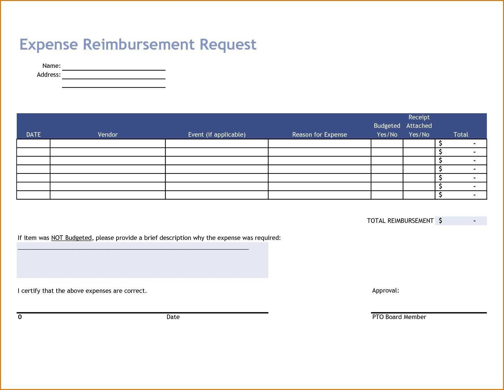 Business Travel Expense Form Template