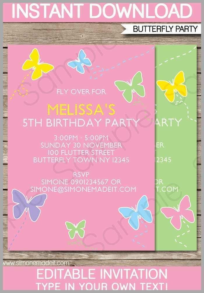Butterfly Wedding Invitation Blank Template